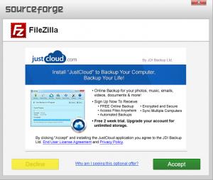 adware filezilla client